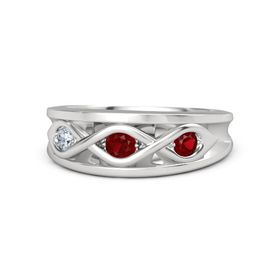 Round Ruby Sterling Silver Ring with Ruby & Diamond