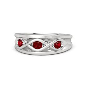 Round Ruby Sterling Silver Ring with Ruby
