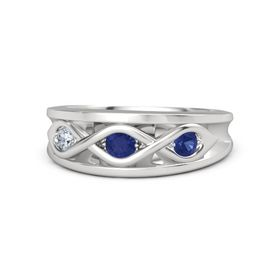 Round Sapphire Sterling Silver Ring with Sapphire & Diamond