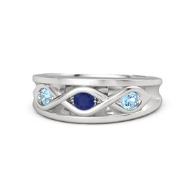Round Blue Sapphire Sterling Silver Ring with Blue Topaz