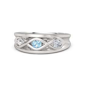Round Blue Topaz Sterling Silver Ring with Diamond and White Sapphire