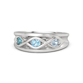 Round Blue Topaz Sterling Silver Ring with Aquamarine and London Blue Topaz