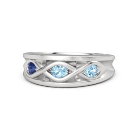 Round Blue Topaz Sterling Silver Ring with Blue Topaz and Blue Sapphire