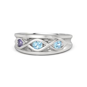Round Blue Topaz Sterling Silver Ring with Blue Topaz and Iolite