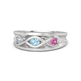 Round Blue Topaz Sterling Silver Ring with Pink Tourmaline and Diamond