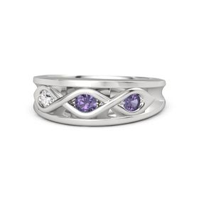 Round Iolite Sterling Silver Ring with Iolite and White Sapphire