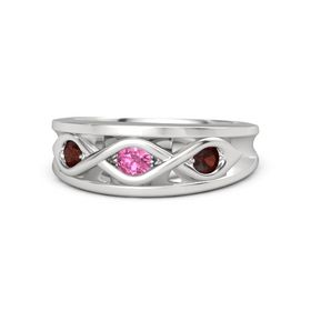 Round Pink Tourmaline Sterling Silver Ring with Red Garnet