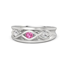 Round Pink Tourmaline Sterling Silver Ring with White Sapphire