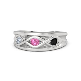 Round Pink Tourmaline Sterling Silver Ring with Black Onyx and Diamond