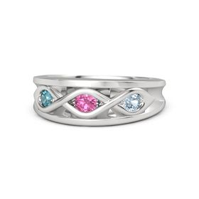 Round Pink Tourmaline Sterling Silver Ring with Aquamarine and London Blue Topaz