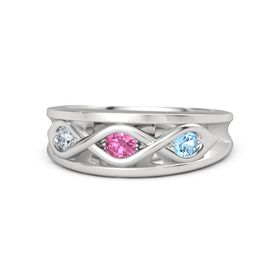 Round Pink Tourmaline Sterling Silver Ring with Blue Topaz and Diamond