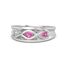 Round Pink Tourmaline Sterling Silver Ring with Pink Tourmaline and Diamond