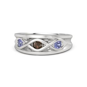 Round Smoky Quartz Sterling Silver Ring with Tanzanite