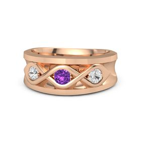 Men's Round Amethyst 14K Rose Gold Ring with White Sapphire