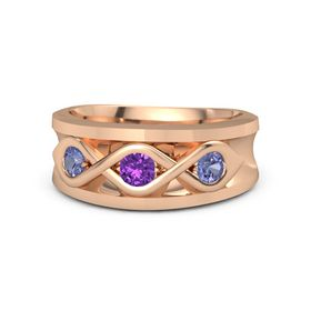 Round Amethyst 14K Rose Gold Ring with Tanzanite