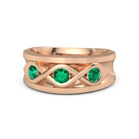 Men's Round Emerald 14K Rose Gold Ring with Emerald