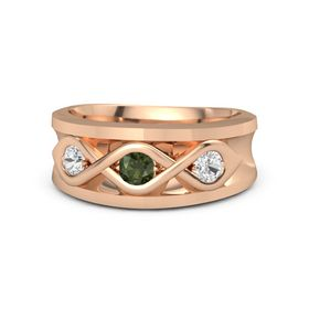 Men's Round Green Tourmaline 14K Rose Gold Ring with White Sapphire
