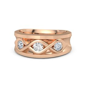 Men's Round Rose Quartz 14K Rose Gold Ring with Diamond