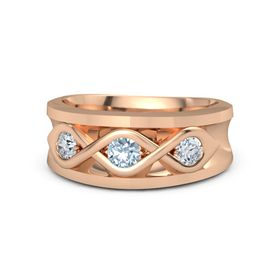 Men's Round Aquamarine 14K Rose Gold Ring with Diamond
