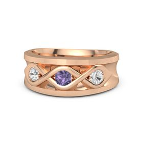 Men's Round Iolite 14K Rose Gold Ring with White Sapphire