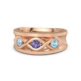 Round Iolite 14K Rose Gold Ring with Blue Topaz