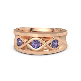 Round Iolite 14K Rose Gold Ring with Iolite