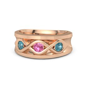 Round Pink Tourmaline 14K Rose Gold Ring with London Blue Topaz