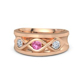 Men's Round Pink Tourmaline 14K Rose Gold Ring with Diamond