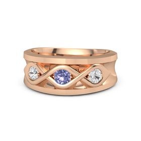 Round Tanzanite 14K Rose Gold Ring with White Sapphire
