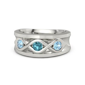 Round London Blue Topaz 14K White Gold Ring with Blue Topaz