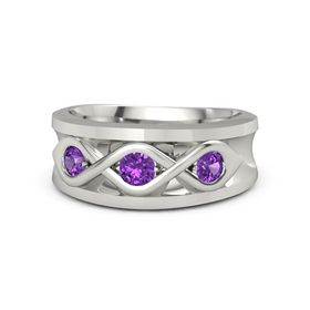 Men's Round Amethyst 14K White Gold Ring with Amethyst