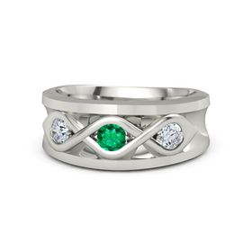 Men's Round Emerald 14K White Gold Ring with Diamond