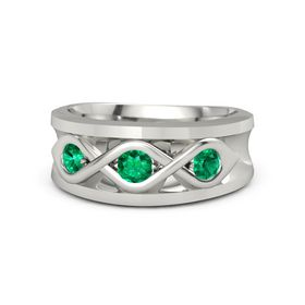Men's Round Emerald 14K White Gold Ring with Emerald