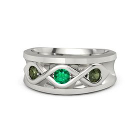 Men's Round Emerald 14K White Gold Ring with Green Tourmaline