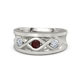 Men's Round Red Garnet 14K White Gold Ring with Diamond