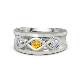 Men's Round Citrine 14K White Gold Ring with Diamond