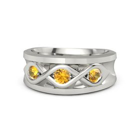 Men's Round Citrine 14K White Gold Ring with Citrine