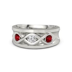 Men's Round White Sapphire 14K White Gold Ring with Ruby