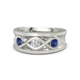 Men's Round White Sapphire 14K White Gold Ring with Sapphire
