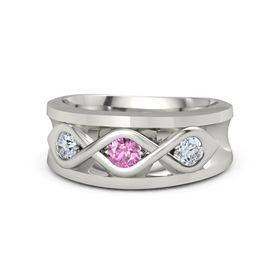 Men's Round Pink Sapphire 14K White Gold Ring with Diamond