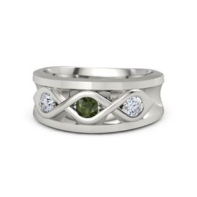 Men's Round Green Tourmaline 14K White Gold Ring with Diamond