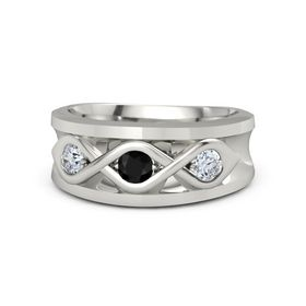 Men's Round Black Onyx 14K White Gold Ring with Diamond