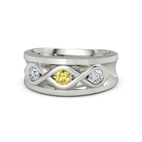 Men's Round Yellow Sapphire 14K White Gold Ring with Diamond