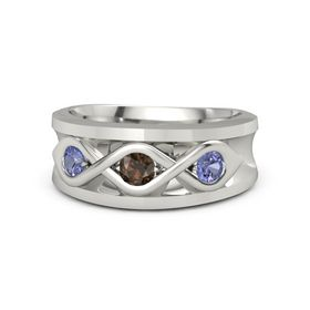 Round Smoky Quartz 14K White Gold Ring with Tanzanite