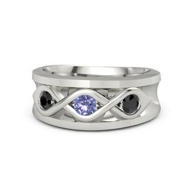 Round Tanzanite 14K White Gold Ring with Black Diamond