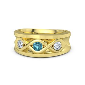 Men's Round London Blue Topaz 14K Yellow Gold Ring with Diamond