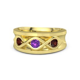Men's Round Amethyst 14K Yellow Gold Ring with Red Garnet