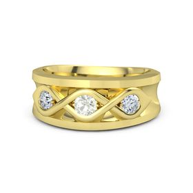Men's Round Green Amethyst 14K Yellow Gold Ring with Diamond