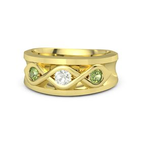 Men's Round Green Amethyst 14K Yellow Gold Ring with Peridot