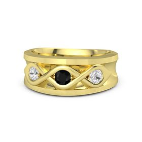 Men's Round Black Onyx 14K Yellow Gold Ring with White Sapphire